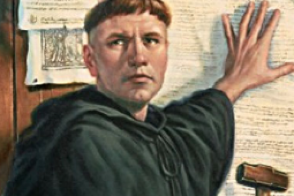 Color image of Martin Luther Nailing the 95 Theses to the door of the church