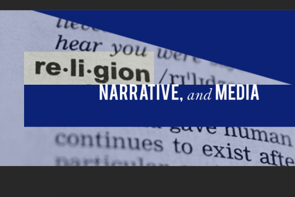 Color Image a logo reading religion, narrative, and media